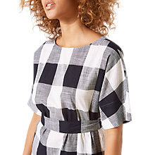 Buy Jigsaw Feather Gingham Belted Top, Black/White Online at johnlewis.com