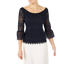 Buy Jacques Vert Bell Sleeve Lace Top Navy Online at johnlewis.com
