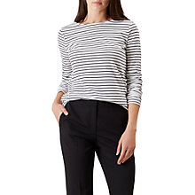 Buy Hobbs Summer Breton Long Sleeve T-Shirt, Navy Ivory Online at johnlewis.com