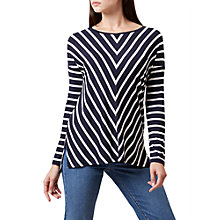 Buy Hobbs Emily Chevron Top, Navy/Ivory Online at johnlewis.com