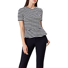 Buy Hobbs April Striped Peplum Top, Navy Ivory Online at johnlewis.com