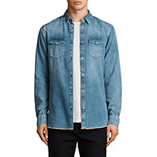 Buy AllSaints Ipsley Denim Shirt, Indigo Blue Online at johnlewis.com