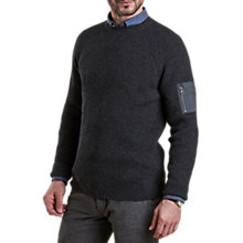 Buy Barbour Land Rover Defender Harrison Crew Wool Blend Jumper, Charcoal Online at johnlewis.com