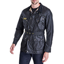 Buy Barbour International Slim Waxed Cotton Jacket, Black Online at johnlewis.com