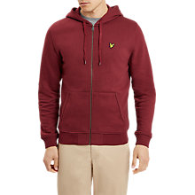 Buy Lyle & Scott Zip Through Hooded Jersey Top, Claret Jug Online at johnlewis.com