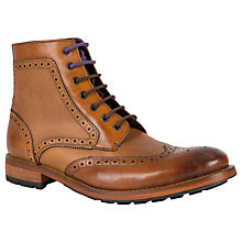 Buy Ted Baker Sealls 3 Leather Brogue Boots, Tan Online at johnlewis.com