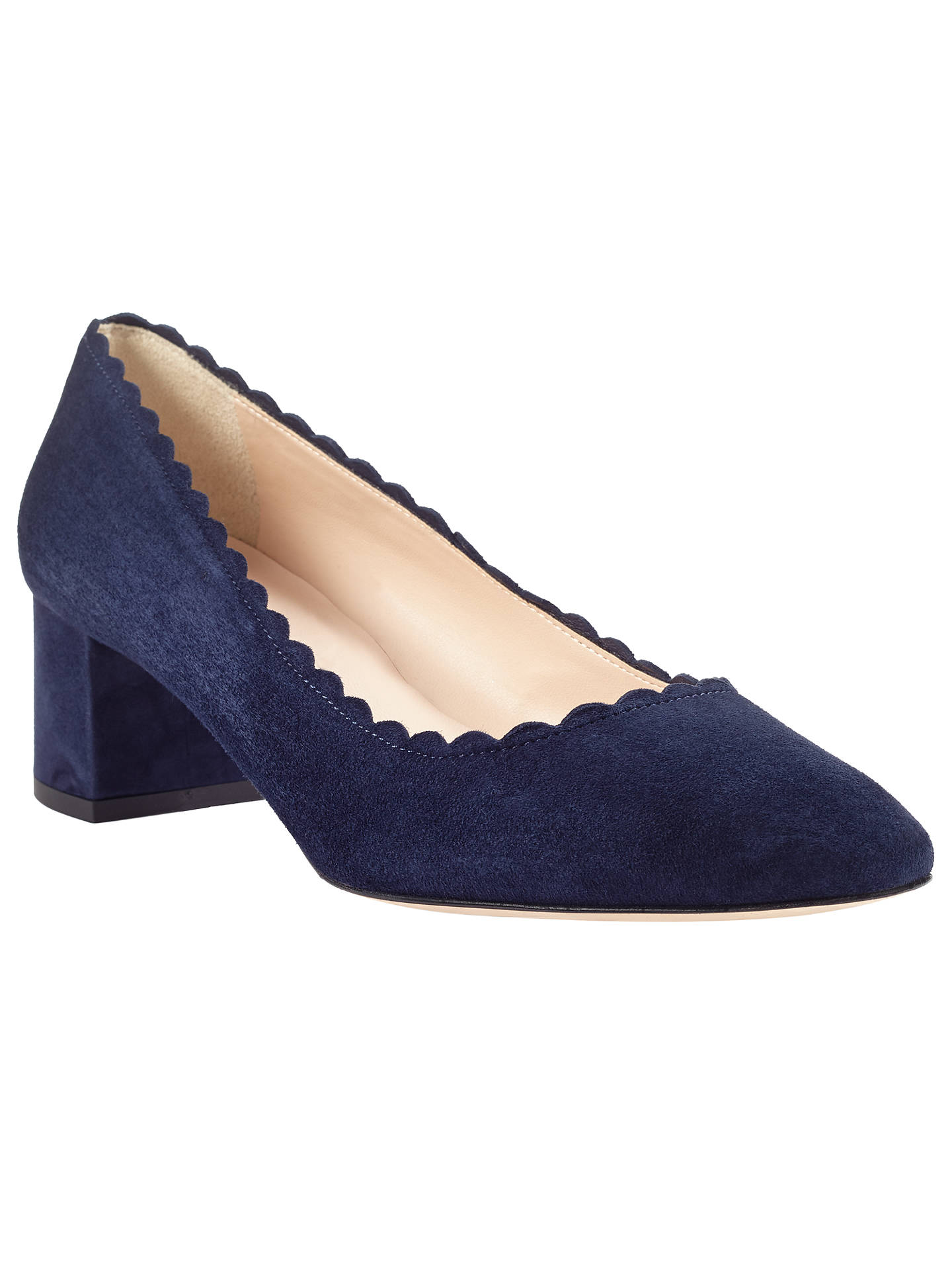 56c36d77b381 Buy John Lewis Ailsa Scalloped Block Heeled Court Shoes, Navy Suede, 3  Online at ...