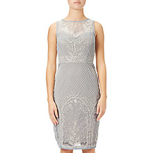Buy Adrianna Papell Beaded Illusion Cocktail Dress, Blue Heather/Nude Online at johnlewis.com