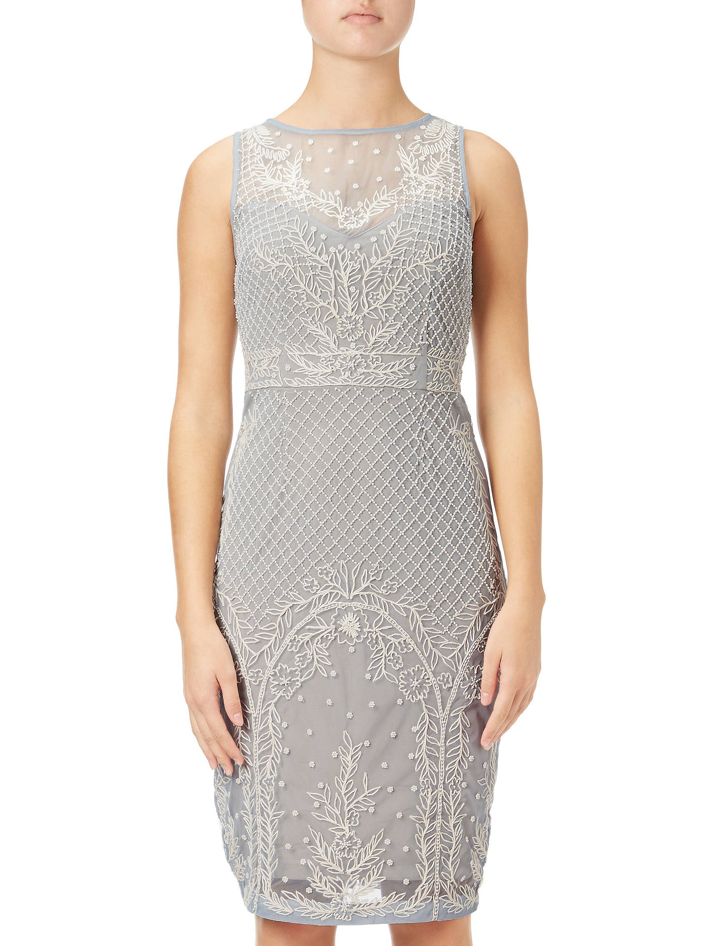 aa185ad9 Buy Adrianna Papell Beaded Illusion Cocktail Dress, Blue Heather/Nude, 6  Online at ...