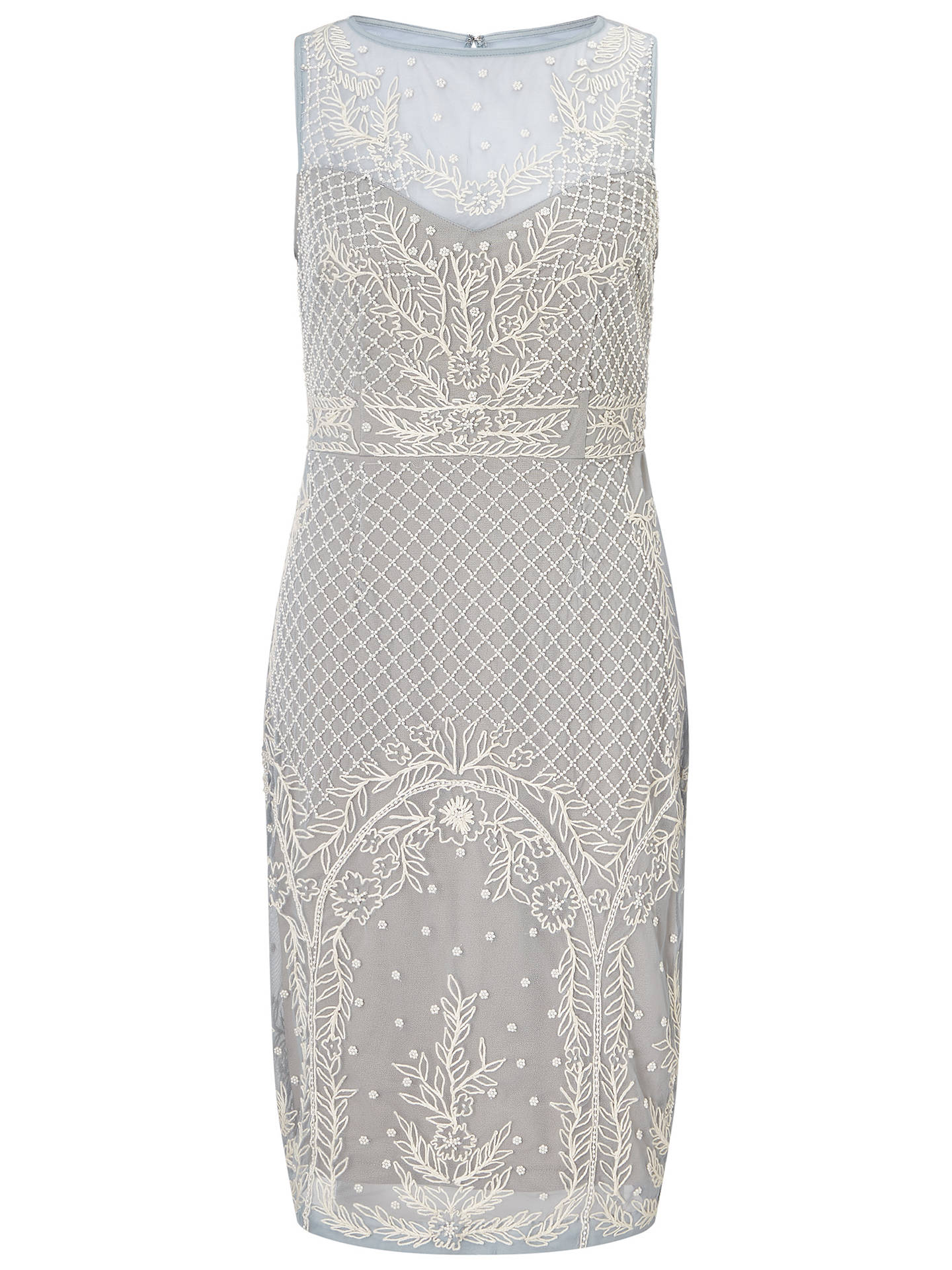 801d828e ... Buy Adrianna Papell Beaded Illusion Cocktail Dress, Blue Heather/Nude,  6 Online at ...