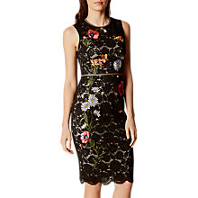 Buy Karen Millen Lace Embroidered Pencil Dress, Black/Multi Online at johnlewis.com