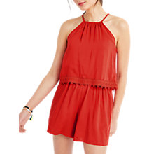 Buy Oasis Trimmed Playsuit, Coral Online at johnlewis.com