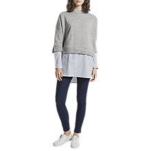 Buy French Connection Dune Mix Oversized Sweatshirt, Grey Mel/Stripe Online at johnlewis.com