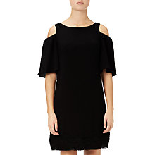 Buy Adrianna Papell Gauzy Crepe Cold Shoulder Dress, Black Online at johnlewis.com