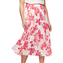 Buy Jacques Vert Hibiscus Print Midi Skirt, Pink Online at johnlewis.com