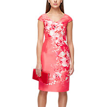 Buy Jacques Vert Shantung Floral Placement Dress, Orange/Multi Online at johnlewis.com