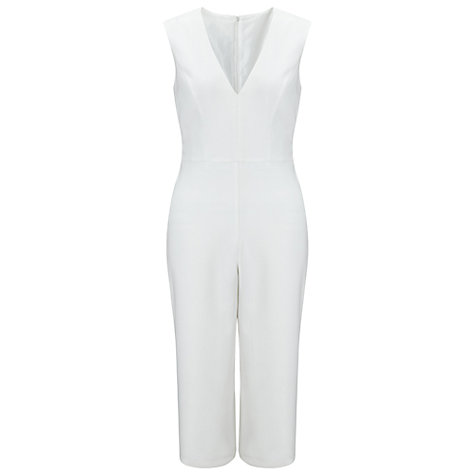 Buy Miss Selfridge Petite Culotte Tie Jumpsuit, Ivory Online at johnlewis.com