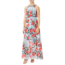 Buy Adrianna Papell Embellished Halter Neck Floral Maxi Dress, Red/Multi Online at johnlewis.com