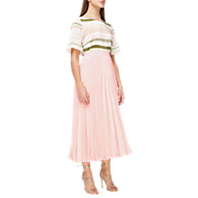 Buy Jacques Vert Variegated Plisse Maxi Skirt, Pastel Pink Online at johnlewis.com