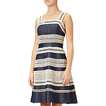 Buy Adrianna Papell Chambray A-Line Lace Trim Dress, Indigo Online at johnlewis.com