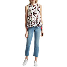 Buy French Connection Eva Crepe Sleeveless Shirt, Summer White/Multi Online at johnlewis.com