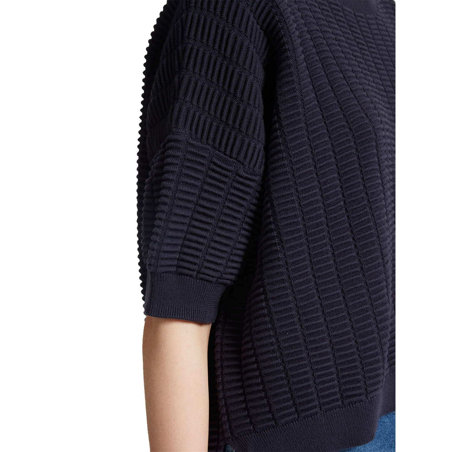 BuyFrench Connection Ladder Mozart Round Neck Jumper, Utility Blue, XS-S Online at johnlewis.com