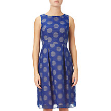 Buy Adrianna Papell Burnout Dot Fit And Flare Dress, Cobalt Online at johnlewis.com