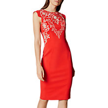 Buy Karen Millen Embroidered Pencil Dress, Red Online at johnlewis.com
