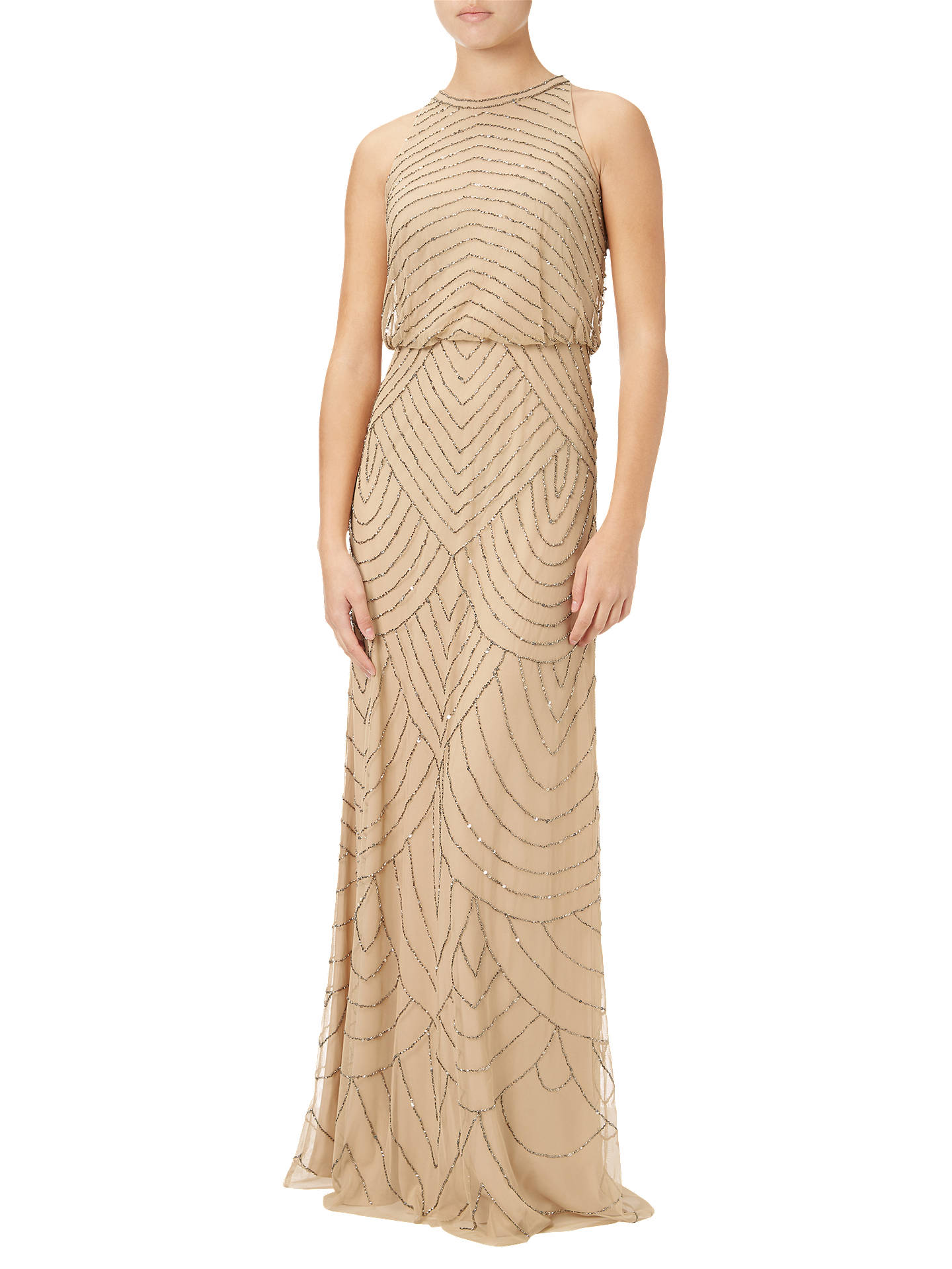 Adrianna Papell Sleeveless Beaded Gown, Nude at John Lewis & Partners