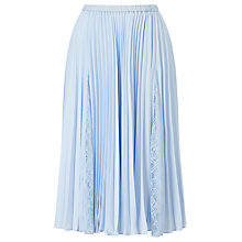 Buy Jacques Vert Plisse Lace Insert Skirt, Pastel Blue Online at johnlewis.com
