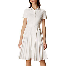 Buy Karen Millen Pleated Shirt Dress, White Online at johnlewis.com