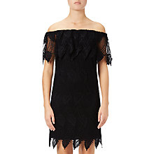 Buy Adrianna Papell Off Shoulder Lace Shift Dress, Black Online at johnlewis.com