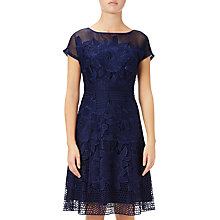 Buy Adrianna Papell Cap Sleeve Fit And Flare Lace Dress, Blue Sapphire Online at johnlewis.com