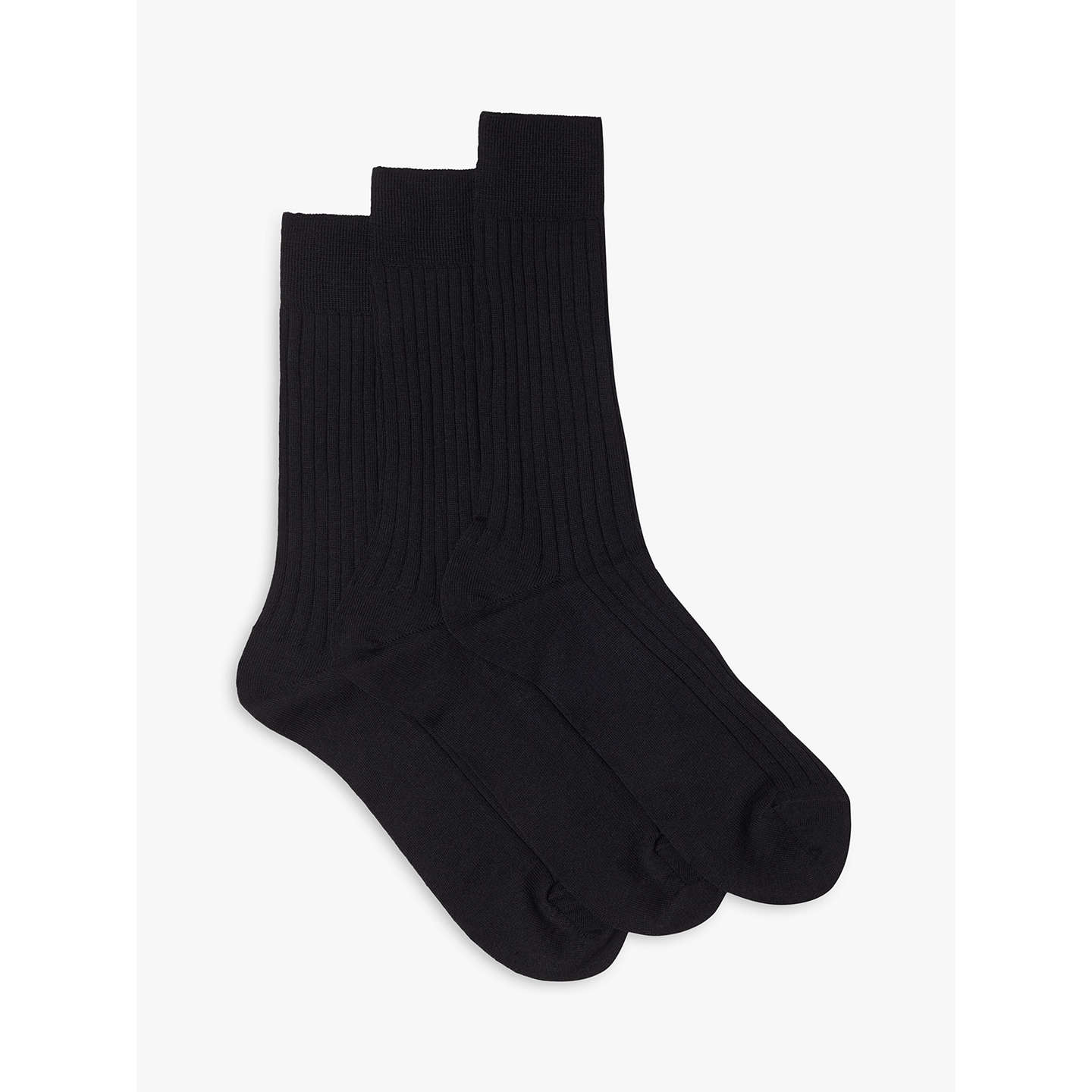 BuyJohn Lewis Made in Italy Wool Rich Ribbed Socks, Pack of 3, Black, S Online at johnlewis.com
