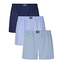 Buy Polo Ralph Lauren Plaid Polo Print Cotton Boxers, Pack of 3, Blue Online at johnlewis.com