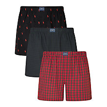 Buy Polo Ralph Lauren Gingham Stripe Woven Cotton Boxers, Pack of 3, Navy/Red Online at johnlewis.com
