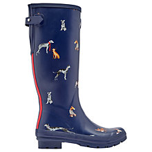 Buy Joules Dog Printed Adjustable Waterproof Wellington Boots, Navy Online at johnlewis.com