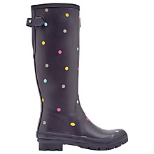 Buy Joules Tall Printed Spot Rubber Wellington Boots, Grey Online at johnlewis.com
