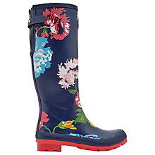 Buy Joules Tall Printed Posy Rubber Wellington Boots, Navy Online at johnlewis.com