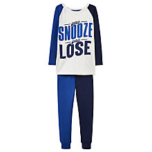 Buy Little Joule Children's Kipwell Snooze Pyjamas, White/Blue Online at johnlewis.com
