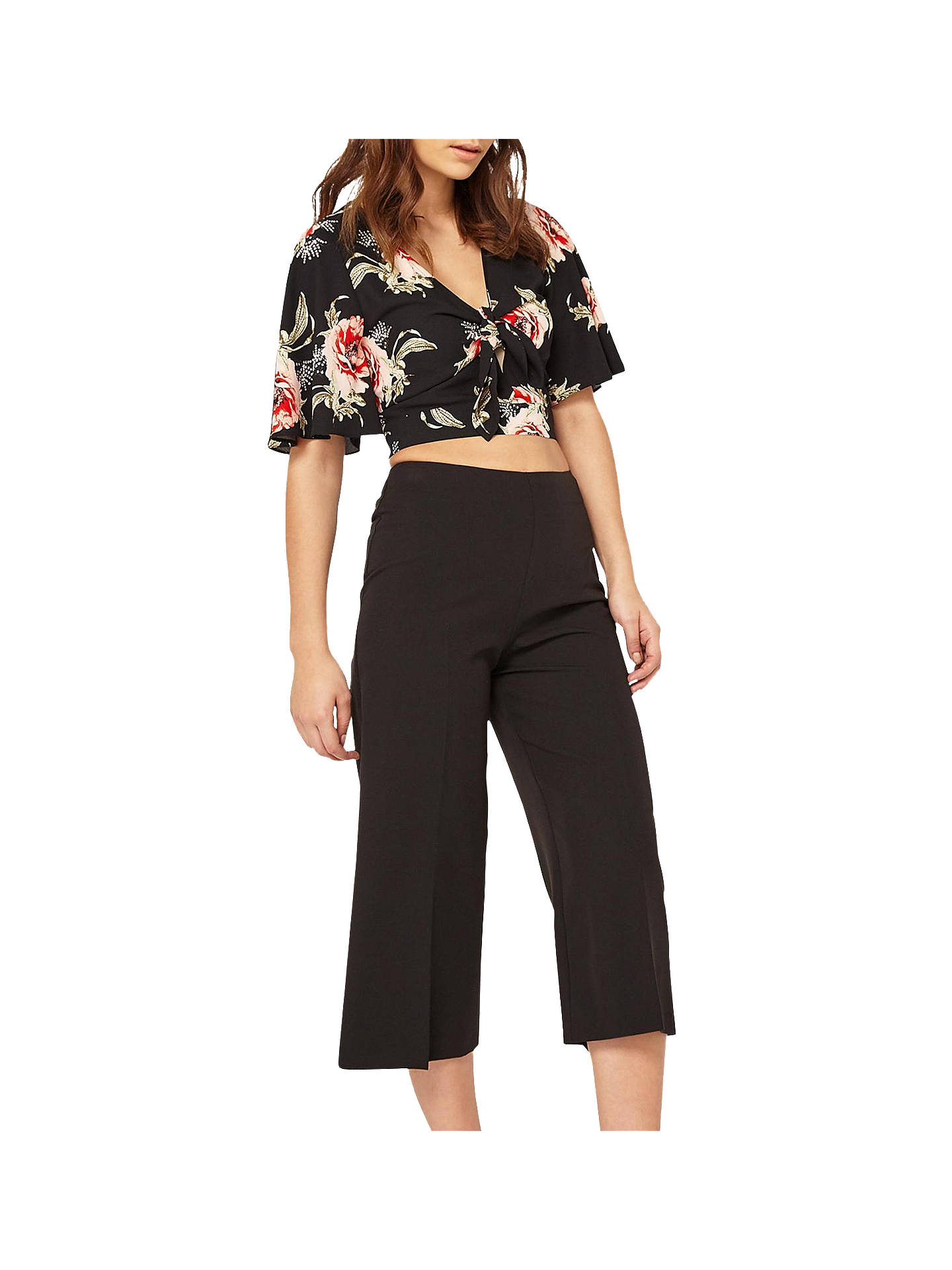 Miss Selfridge Cropped Wide Leg Trousers, Black at John Lewis & Partners