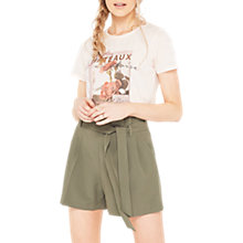 Buy Miss Selfridge Paper Bag Shorts, Khaki Online at johnlewis.com