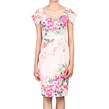 Buy Jolie Moi Floral Print Cold Shoulder Structured Dress, Pink Online at johnlewis.com