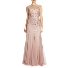 Buy Adrianna Papell Petite Long Beaded Gown With Illusion Neck, Blush Online at johnlewis.com