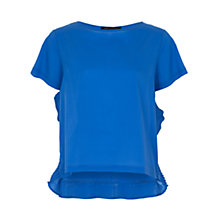 Buy French Connection Polly Plains Frill Top, Empire Blue Online at johnlewis.com
