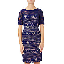 Buy Adrianna Papell Petite Corded Stripe Lace Dress, Neptune Online at johnlewis.com