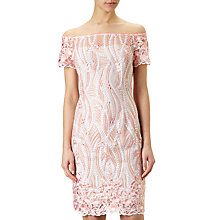 Buy Adrianna Papell Off Shoulder Lace Dress, Coral/Multi Online at johnlewis.com
