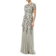 Buy Adrianna Papell Petite Floral Beaded Godet Gown, Silver Online at johnlewis.com