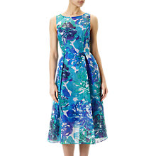 Buy Adrianna Papell Sleeveless Ribbed Organza Floral Midi Dress, Blue/Multi Online at johnlewis.com