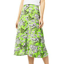 Buy Warehouse Tiger Print Midi Skirt, Green Online at johnlewis.com